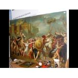 A large oil on canvas of famous Roman battle scene