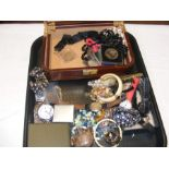 A tray of costume jewellery including wrist watche