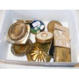 A mother of pearl card case together with compacts