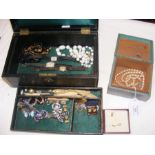 A selection of costume jewellery including necklac
