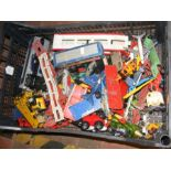A collection of play worn die cast model trains, p