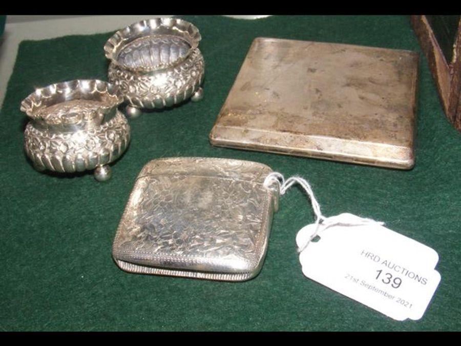 A silver vesta case, a silver cigarette case and t - Image 2 of 2