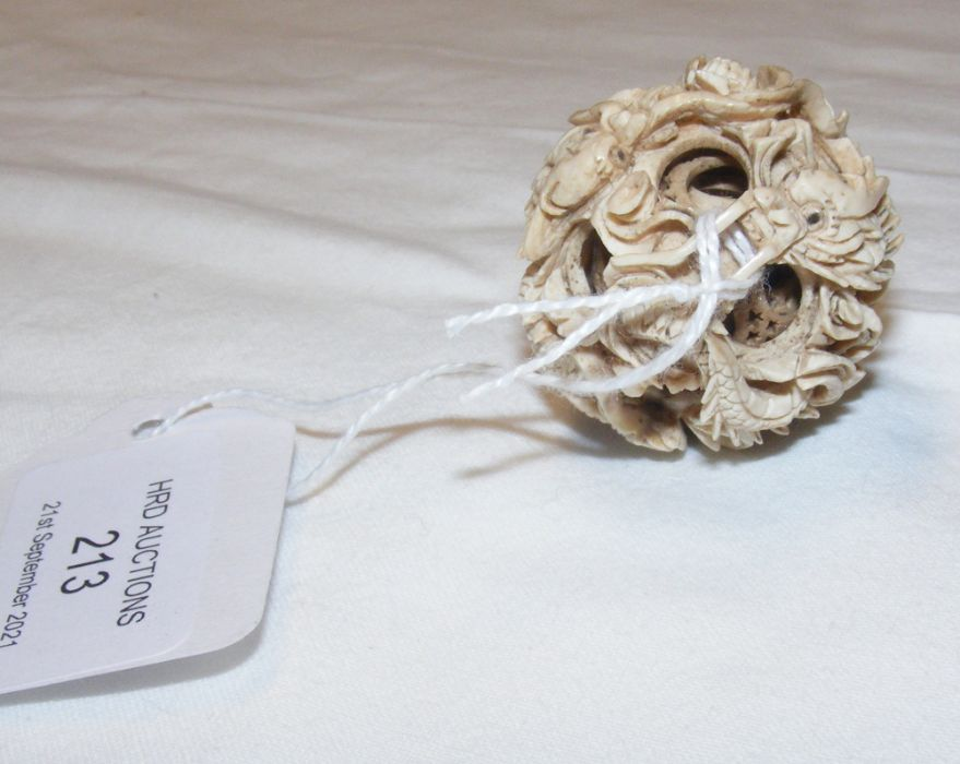 A Chinese carved puzzle ball - diameter 3.5cm