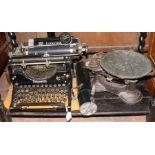A vintage Underwood American typewriter, together