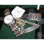 A 9ct gold signet ring, silver identity bracelet,