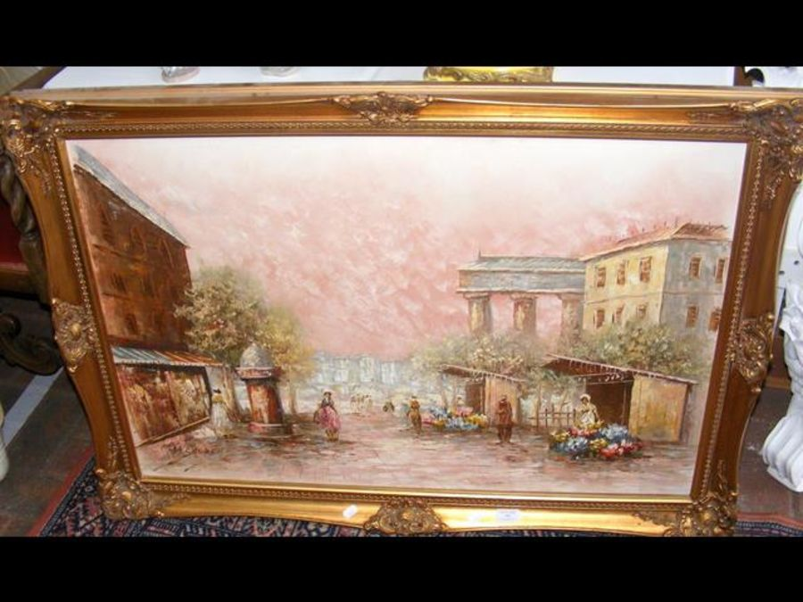 A large oil on canvas of Continental street scene - Image 2 of 2