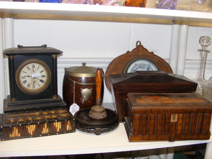 An aneroid wall barometer, cigar barrel, tea caddy