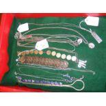 Various silver jewellery including ingot