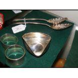 A pair of Georgian silver berry spoons, a .800 tri