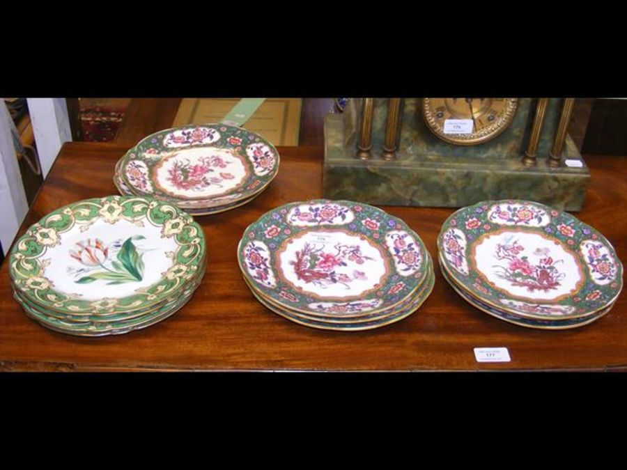 Four Victorian floral painted dessert plates with - Image 2 of 2