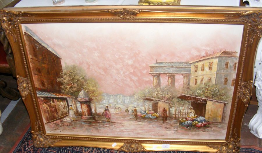 A large oil on canvas of Continental street scene