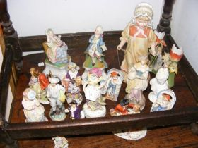 A selection of Continental antique figurines