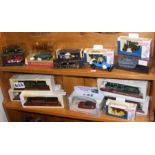 A collection of die cast model vehicles, including