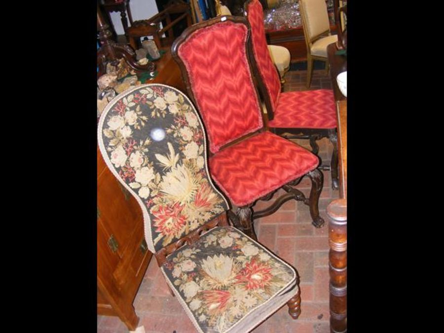 A 19th century Prie-dieu chair together with a pai