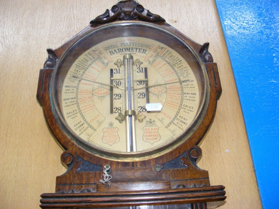 A Royal Polytechnic barometer in oak case - Image 3 of 3