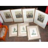 French fashion prints, framed and glazed