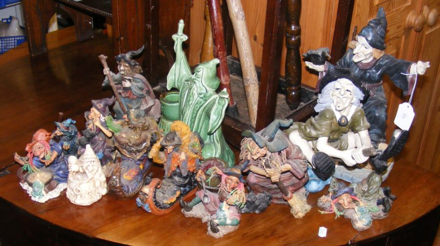 A collection of ornamental witches and magicians