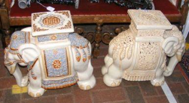 Two garden elephant ornaments