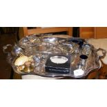 A range of silver plated items including tray