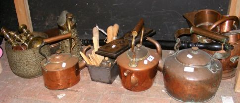 A large selection of antique coper and brass, toge
