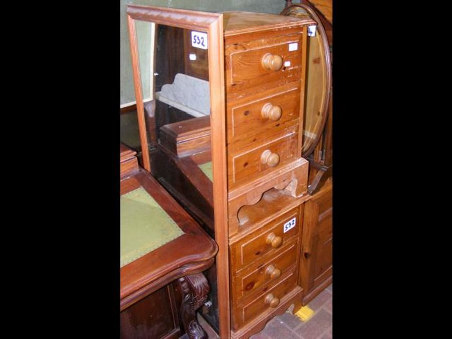 A pair of pine bedside cabinets, full length wall