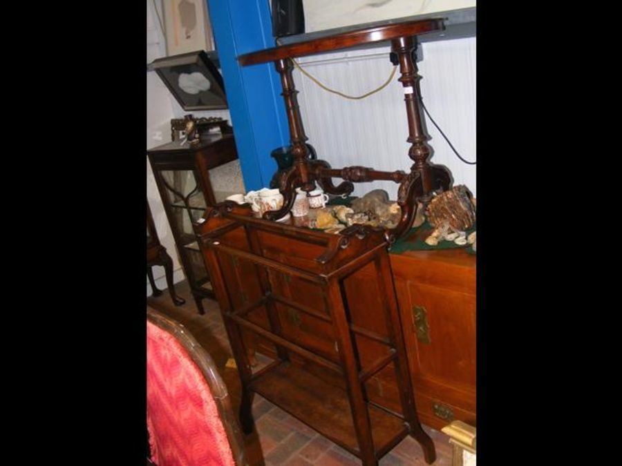 A Victorian oval occasional table together with a