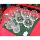 Six cut glass Tudor brandy glasses etc