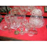 A selection of cut glass ware including bowls, jug