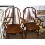 Two wooden carver chairs with spindle backs