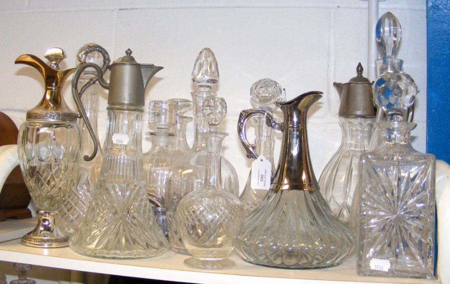 A cluster of cut glass decanters