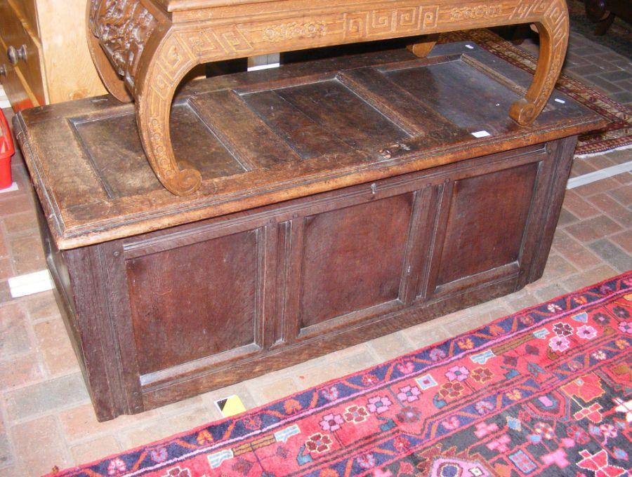 An 18th century oak three panel coffer - length 12