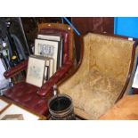 A Victorian button back armchair together with an