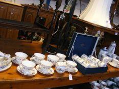 Royal Worcester 'June Garland pattern' fine bone china tea cups, saucers, plates