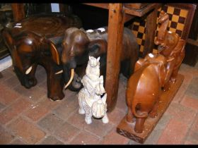 Various carved elephants