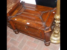 An 18th century marriage chest with shaped hinged