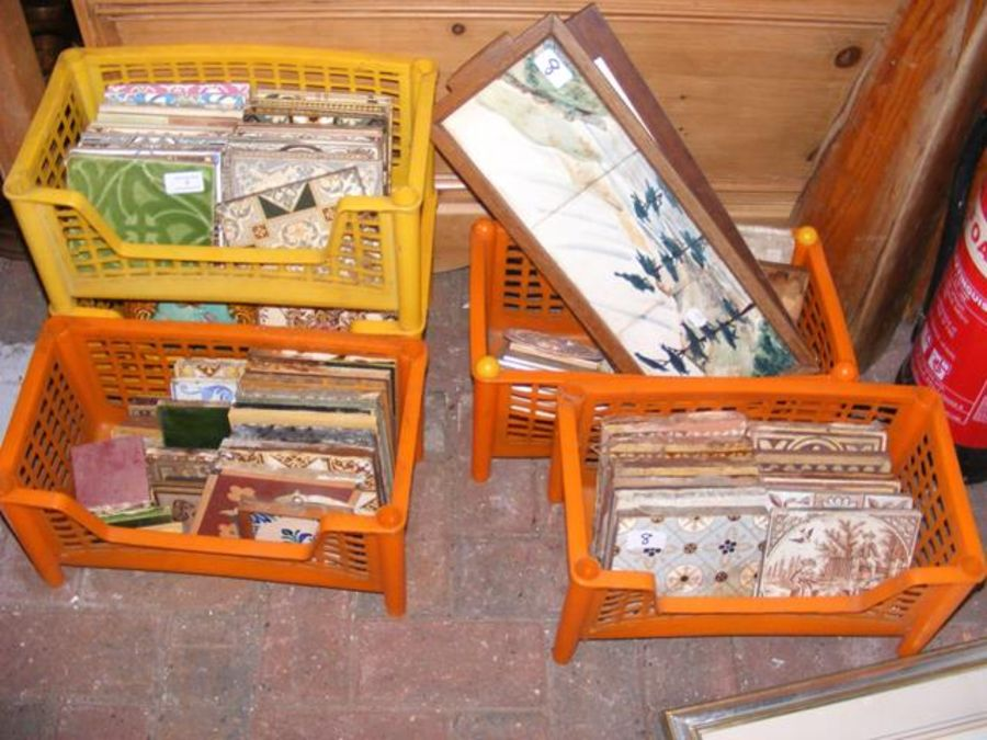 A selection of antique tiles, contained in five pl