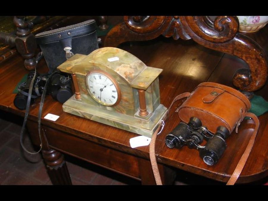 A mantel clock together with two pairs of binocula - Image 2 of 2