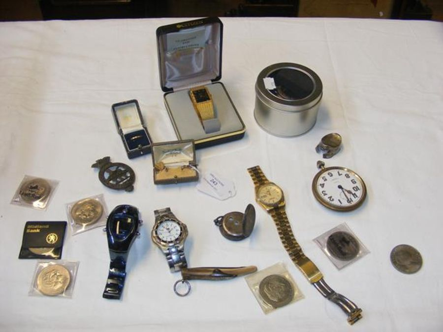 Gents wrist watches, collectable coins - Image 2 of 2
