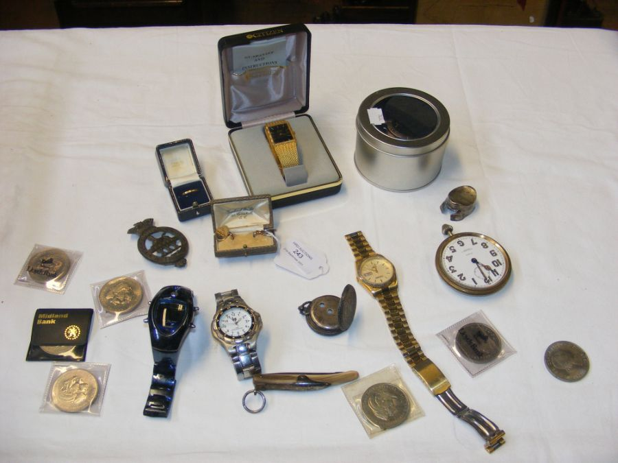 Gents wrist watches, collectable coins