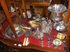 A selection of silver plated ware including tea pot