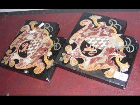 A pair of antique Scagliola plaques - 23cm square