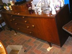 A retro A.Younger Ltd teak sideboard with four cen