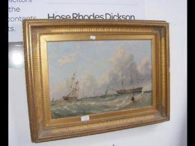 W LEATHEM - oil on canvas - three masted man-of-wa