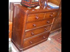 A cap top Victorian chest of drawers