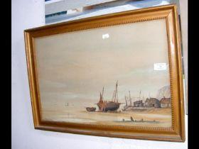 MORTIMER - watercolour of fishing shoreline scene