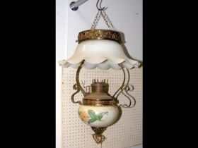 A ceramic and glass hanging ceiling lamp