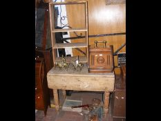 An old pine drop leaf table, together with a pine