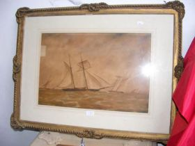 JOY - watercolour of two masted sailing vessel in