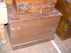 A Victorian painted pine trunk
