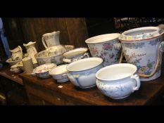 A collection of Victorian jug and bowls, chamber p